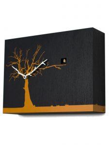 """Cucuruku"" Cuckoo Clock - Black Wood, Orange Tree, White Hands"