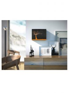 """Cucuruku"" Cuckoo Clock - Black Wood, Orange Tree, White Hands Lifestyle Photo"