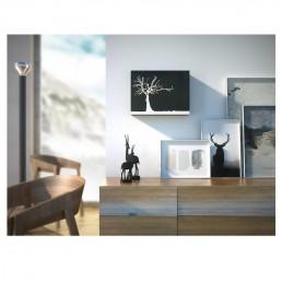 """Cucuruku"" Cuckoo Clock - Black Wood, White Tree, Orange Hands - Lifestyle Photo"