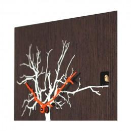 """Cucuruku"" Cuckoo Clock - Wenge Wood, White Tree, Orange Hands"