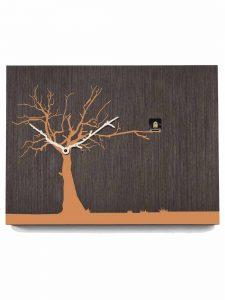 """Cucuruku"" Cuckoo Clock - Wenge Wood, Orange Tree, White Hands"