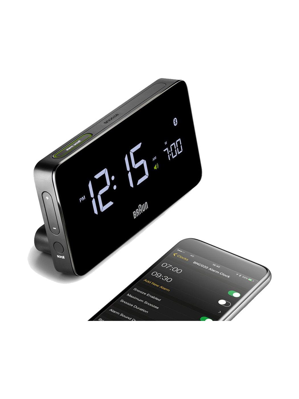 bluetooth alarm clock braun iphone