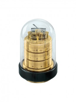 Large Domed Weather Station 16cm in Brass & Black Wood