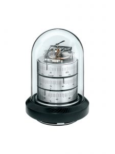 Large Domed Weather Station 16cm in Nickel & Black Wood
