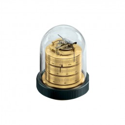 Small Domed Weather Station 115mm in Brass & Black Wood