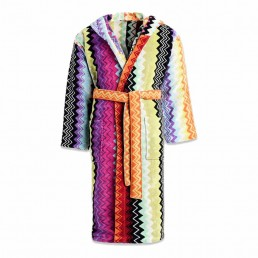 giacomo zig-zag pattern hooded bathrobe by Missoni Home