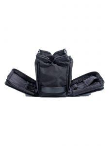 black cloth dopp kit -side pockets open - hook & albert