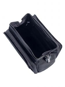 black cloth dopp kit -top open - hook & albert