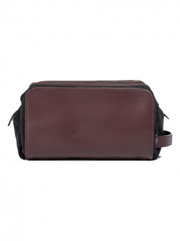 brown leather dopp kit - side view - hook & albert