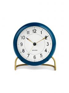 station table clock arne jacobsen petrol blue 1