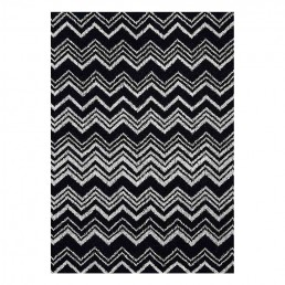 Keith Hooded Bathrobe By Missoni with Black & White Zig Zag Chevron Pattern