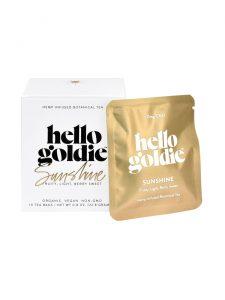 sunshine cbd tea hello goldie packaging