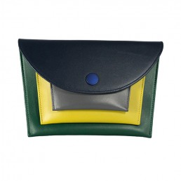 maxmin cross body clutch hester van eeghen blue dark grey mustard green front.pjpg