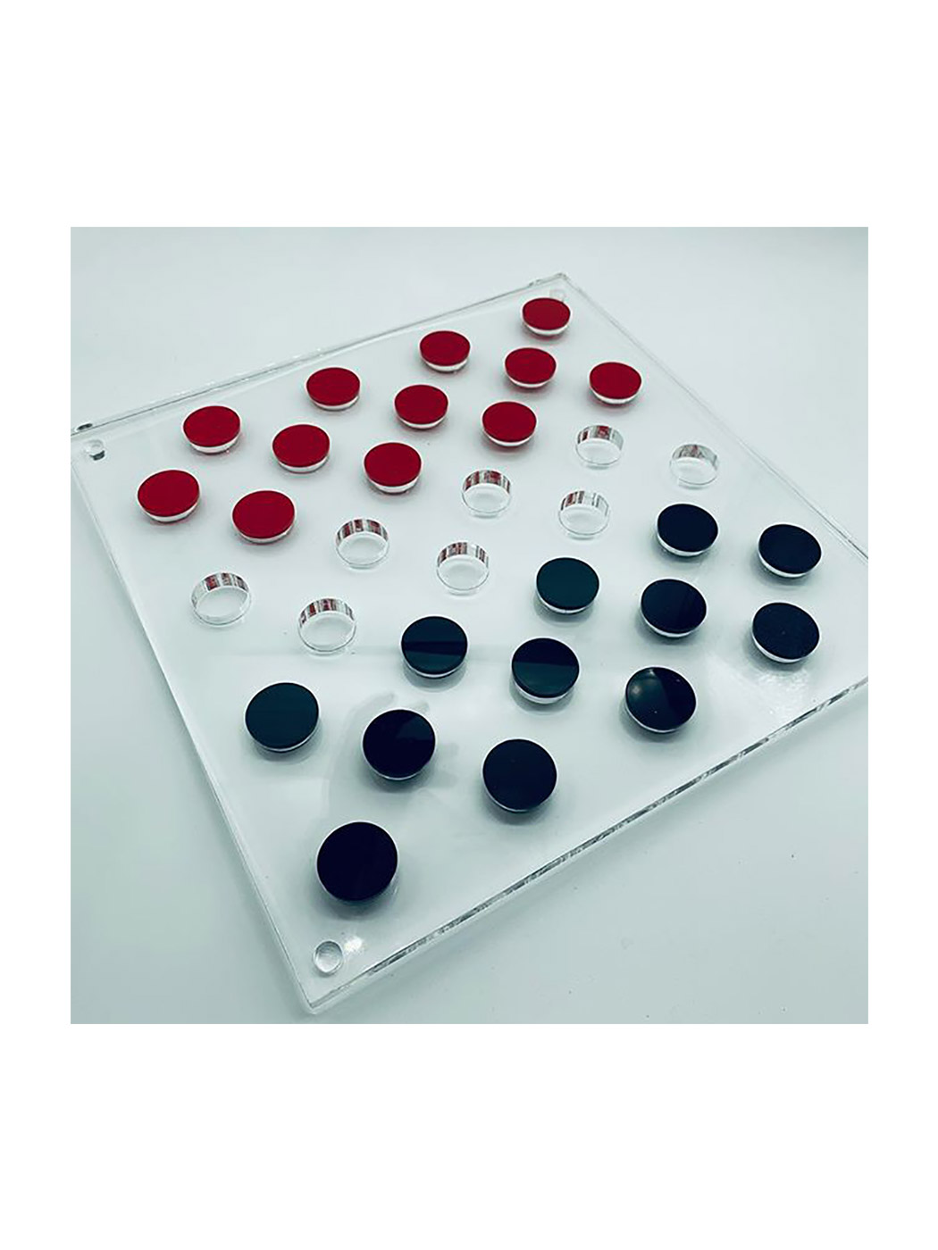 Modern Acrylic Checkers Set in Red and Black