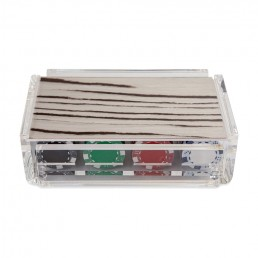 Modern Luxe Poker Chip Set in Acrylic With Wood Stripe Cover