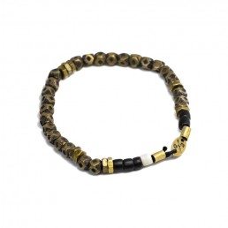 Faceted Brass and Black Bead Stretch Mens Bracelet