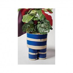 Handmade Blue and White Stripe Milking Stool Planter