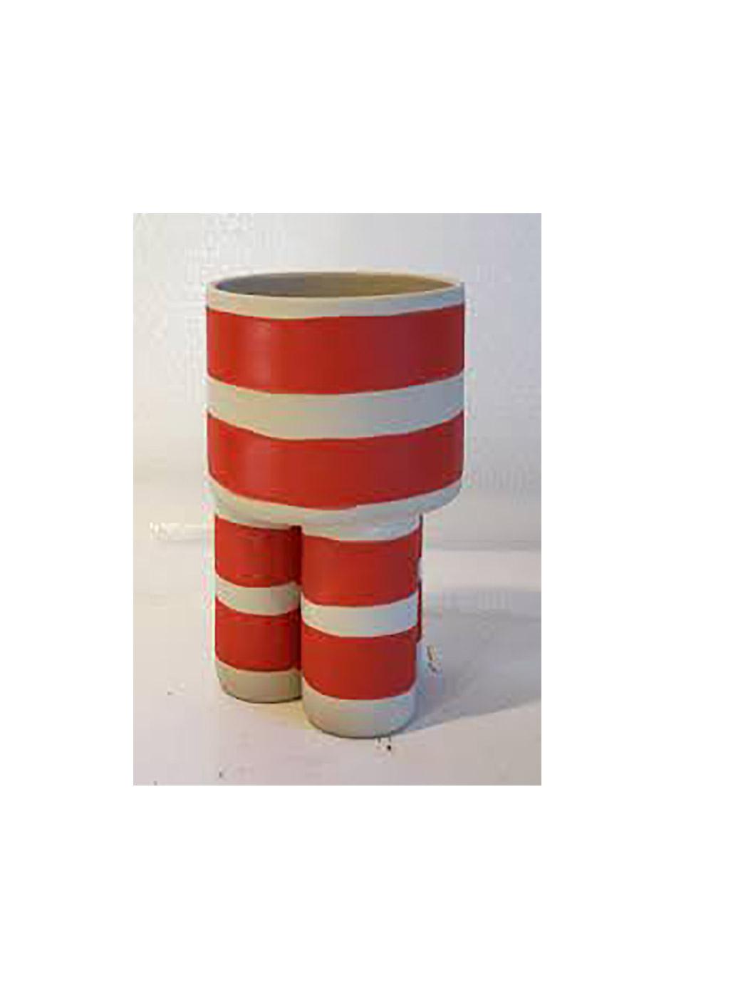 Handmade Red and White Stripe Milking Stool Planter