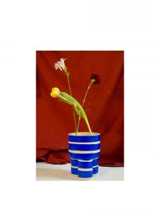 Handmade Blue and White Stripe Milking Stool Planter WIth Flowers