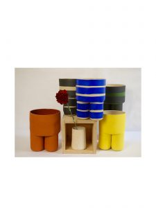 Grouping of Handmade Striped Milking Stool Planters