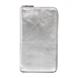 Aluminum Tall Leather Coupe Wallet WIth Zip Around