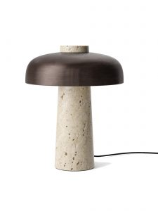 Bronzed Brass and Marble Reverse Table Lamp