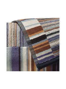 Hand Towel Jazz 165 by Missoni Home a colorful stripes of brown, lilac, and mint.