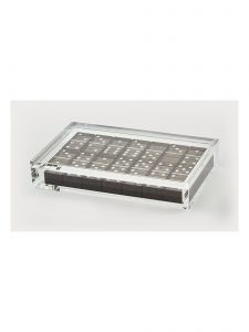 lucite domino set brushed steel
