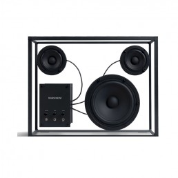 transparent speaker large black black wires front