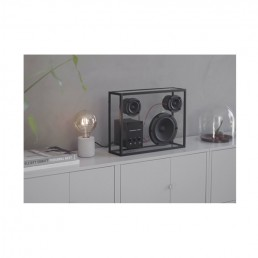 transparent speaker large black red wires lifestyle 6