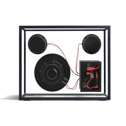 transparent speaker large black red wires rear