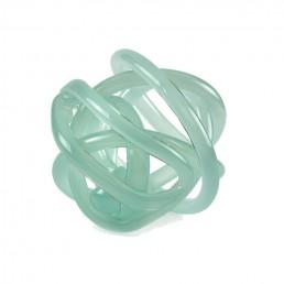 glass knot sculpture sea green