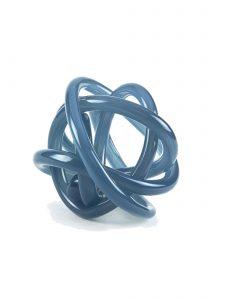 glass knot sculpture smoky blue