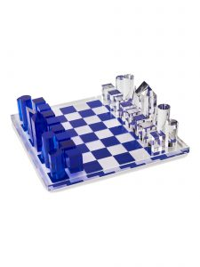 modern acrylic chess set blue