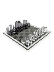 modern acrylic chess set smoke