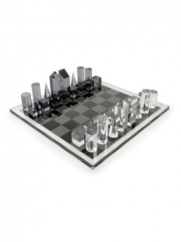 modern acrylic chess set smoke