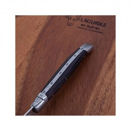 pizza knife laguiole en aubrac ebony handle detail