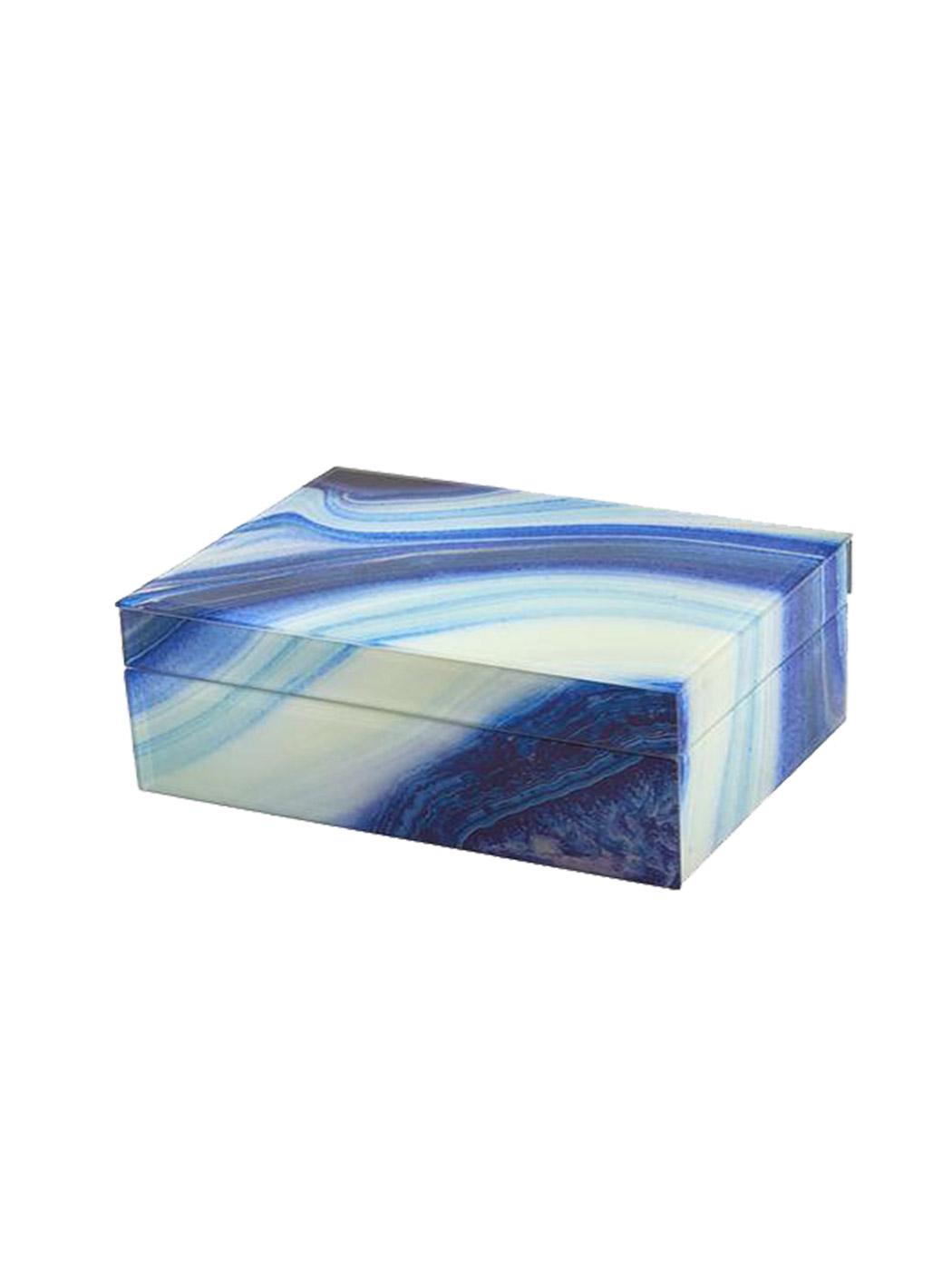 marbled storage box blue large closed