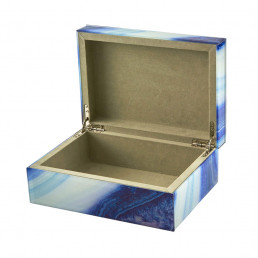marbled storage box blue large open