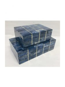 storage box set mosaic bone blue brass kuji set