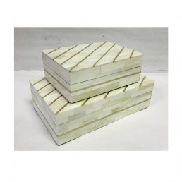 storage box set mosaic bone white brass kuji set