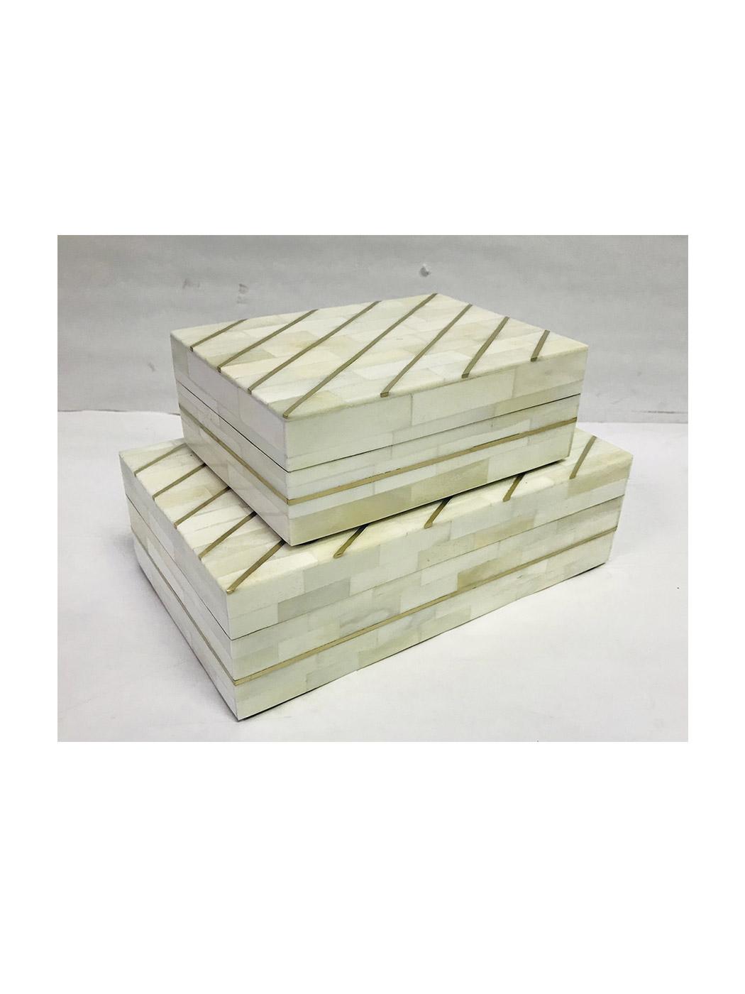 storage box set mosaic bone white brass kuji set