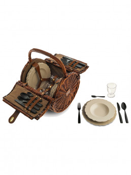 picnic basket set dressed en plein air alessi open