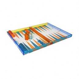 lucite backgammon set tizo multicolor open