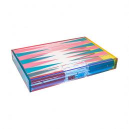 lucite backgammon set tizo turquoise hot pink closed