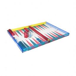 lucite backgammon set tizo turquoise hot pink open